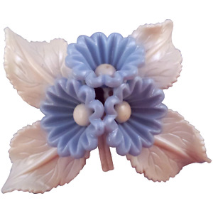1940s Bluebell Plastic Flower Pin with Cream Colored Leaves