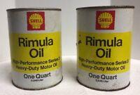 (2) Shell Rimula VINTAGE FULL 1 QUART SAE 30 Diesel  CARDBOARD OIL CANS