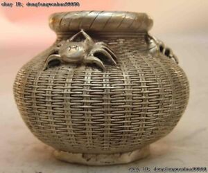 Folk White Copper Silver Fengshui Crab Pot Jar Crock Fish Basket Fishbowl Statue