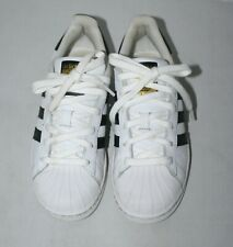 Adidas Womens Superstar Lace Up Sneakers White Black Sz US 5