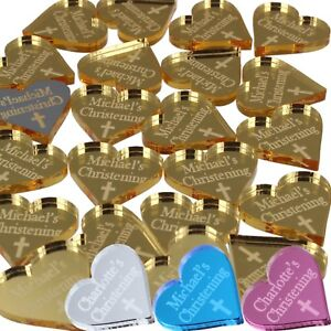 Personalised Christening Favours Religious Cross Baptism Decor Boys Girls Hearts