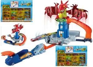 Hot Wheels Dragon Blast Play Set 18 Cars Ages 4+ Toy Race Track Car Mattel Play