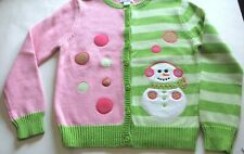 NWT Girls' Size 10-12 Pink & Green Cotton Cardigan Sweater with Snowman Applique