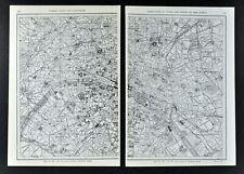 1917 Map - Paris France City Plan Seine River Notre Dame Palaces Arch of Triumph