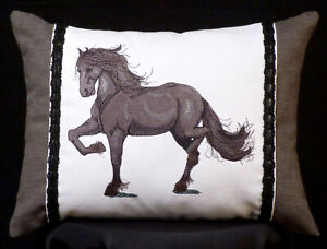 New Embroidered Grey and White Friesian Horse Accent Pillow 12 x 16 in insert