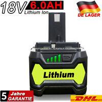 für Ryobi Akku 18V 6,0Ah P108 Lithium Ionen Batterie One+ RB18L50 P104 RB18L40