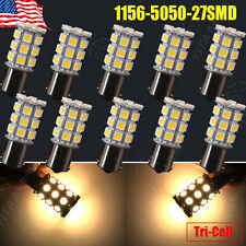 10x Warm White 1156 27-SMD RV Camper Trailer LED Interior Light Bulbs 1141 1093