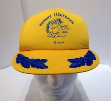 Vintage 1985 Hungry Fisherman Bass Circuit Crew fishing mesh trucker hat w/ scra