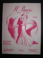 Il Bacio The Kiss Sheet Music Vintage 1938 L Arditi P Seneca Voice Piano (O)