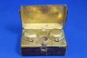 Antique K K PR Austrian Military brass leather travelling Glass Inkwell KKPR