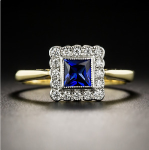 Charm 925 Silver Square Yellow Gold Plated Square Sapphire Gemstone Flower Ring
