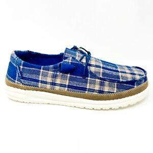Hey Dude Wendy Tartan Blue Beige Womens Casual Lightweight Shoes 121412667