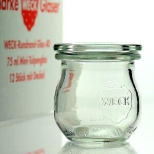 WECK Einkochglas 12 Stück 75ml Tulpeglas mit Auswahl Zubehör - Versand Kostenlos