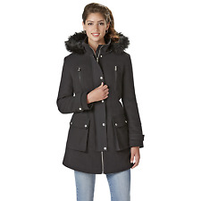 Women's Outdoor Spirit Hooded Parka with Fur-Look Trim Black M #NKK4S-939