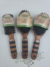 3 Conair Classic wood 100% Boar Bristles Brush Smooth & Add Shine 87302Z