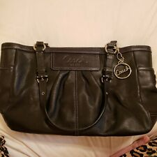 Preowned black leather coach handbags