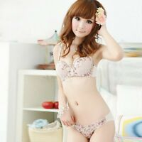 Chic Women Sexy Lace Floral Pattern Knickers Push Up V-Neck Bra Set 32B-36B M84
