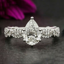 1.5 Carats Pear Cut Moissanite Engagement Ring in 9k Solid White Gold