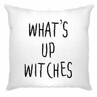 Novelty Halloween Cushion Cover What's Up Witches Pun Rude Joke Spooky Fun