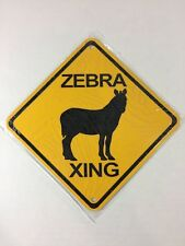 Zebra Metal Zoo Crossing Sign 6�x6� (New)