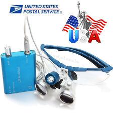 USA Blue Dental Loupes 3.5X420mm Surgical Optical Glass with LED Head Light Lamp