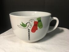 Starbucks 2011 White Christmas Holiday Bird Mittens Large 21.9 oz Coffee Mug Cup
