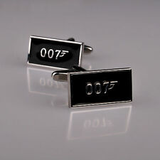 Black Agent 007 James Bond Golden Eye Inspired Mens Cufflinks Plate Jewelry B2B