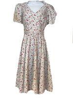 POLKA DOT POLLY Dress Floral Vintage Reproduction 50s Lindy Bop Rockabilly Sz 8