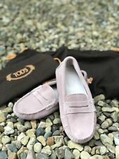 TOD'S Womens BLUSH PINK Nude SUEDE LOAFERS Driving SHOES Size 37 4 UK