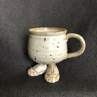 Stonewear Mug With Legs Feet Pottery Cute Cup With Sneakers Coffee Tea Vintage