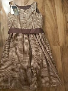 BNWT Ralph Lauren Fall II brown Glen Plaid-DRGrey Lace Dress-DR-WVN Age8 RRP£159