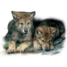 "WOLF:""TWO CUBS"" on 18"" x 22"" Fabric Panel to Sew. Actual picture is 11"" x 14""."