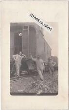c. 1910s CB&Q RAILWAY CABOOSE REAL PHOTO POSTCARD RPPC