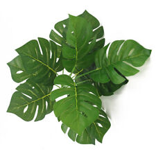 12 x Large Artificial Monstera Swiss Cheese Plant Leaves -Tropical - Green Leaf