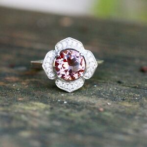 Color Change Diaspore Flower Ring Sterling Silver 925 with Cubic Zirconias