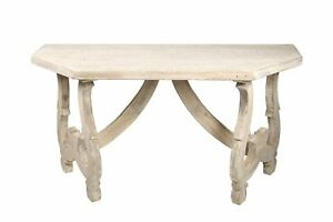 """56"""" L Console Table Reclaimed Douglas Fir Hand Carved Base Distressed Finish"""