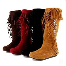 New Womens Flats Tassel Mid Calf Boots Hidden Heels Pull On Suede Moccasin Shoes