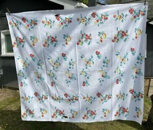 Vintage Tablecloth Large Cherries Yellow Floral Red Green On White 62 x 54