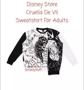 🐾 Genuine DISNEY Store Black & White CRUELLA  Sweatshirt Adults size Small £45