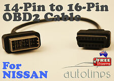 14 PIN To 16 PIN Female OBD2 OBDII Cable Diagnostic Adapter Connector For NISSAN