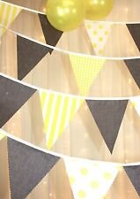 Yellow & Grey Bunting - Spots stripes gingham - baby shower, wedding - 5 metres