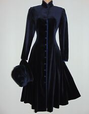 Laura Ashley Vintage Victorian Edwardian Russian Midnight Velvet Coat Dress 10UK