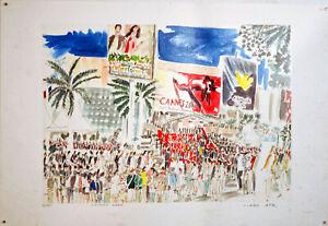 FESTIVAL de CANNES 2000 -DESSIN ORIGINAL par Marc AHR-TIRAGE 16/100 - 54 X 37 cm