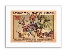 Propoganda Fun War Map of Europe 1870 Poster Military Canvas Art Prints