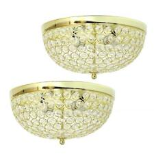 """Elegant Designs 13"""" 2 Light Elipse Crystal Flush Mount Ceiling Light 2 Pack/Gold"""
