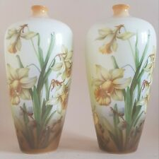 More details for pair of antique baluster vases decorated with daffodils