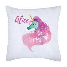 Magic Unicorn Sequin Cushion cover custom with a name Gift ideas Christmas gifts