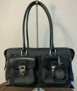 DOONEY & BOURKE Black Leather Canvas DB Double Pocket Shoulder Tote Purse Bag