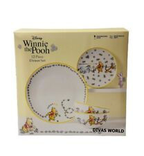 Disney Winnie The Pooh Dinner Set Porcelain 12 Piece Plate Bowl Novelty Gift Box