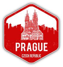"""Prague City Czech Republic Grunge Travel Car Bumper Sticker Decal 5"""" x 5"""""""